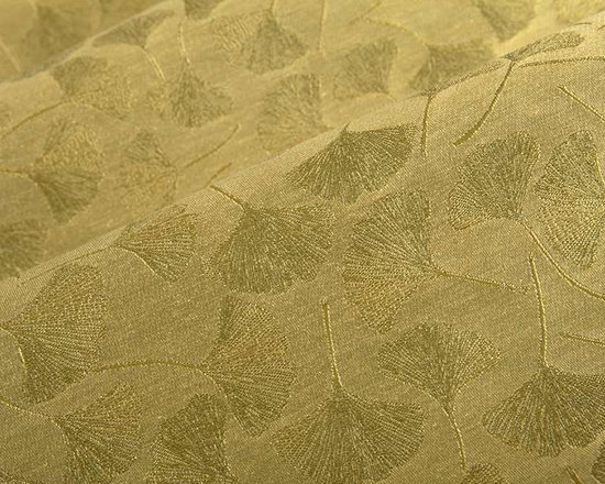 Maidenhair Upholstery Fabric in Linden - Maidenhair in Linden is a Ginkgo leaf pattern upholstery fabric made from a durable cotton blend. Available in a variety of metallic nature inspired hues, this fabric has a calming, zen-like element that grounds interior designs. Approved for upholstery use but light enough for structured draperies and other window treatments. American made from a blend of 63% polyester and 37% cotton with acrylic backing and a Teflon finish. This fabric passes Wyzenbeek 50,000 double rubs, Calif Bulletin #117, UFAC, ASTM E-84 adhered Class I and NFPA 260 Class I. Cleaning code: WS. This fabric meets or exceeds ACT standards for upholstery use. Repeat: approx 14.5″ v x 9″ h Width: 54″