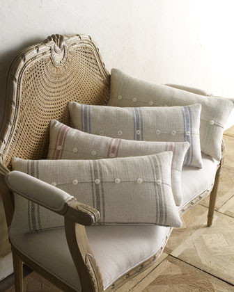 """French Laundry Home 12"""" x 24"""" Striped Pillow With Buttons traditional-decorative-pillows"""