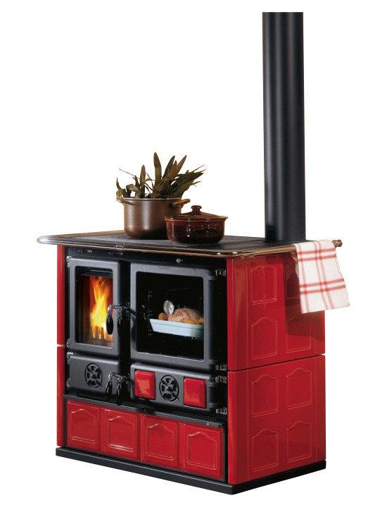"""La Nordica - Wood Cook Stove La Nordica 'Rosa Maiolica' Wood-Burning Cooker, Bordeau - Wood Cooking Stove La Nordica """"Rosa Maiolica"""""""