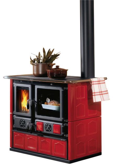 Wood Cook Stove La Nordica 'Rosa Maiolica' Wood-Burning Cooker, Bordeau farmhouse-ovens