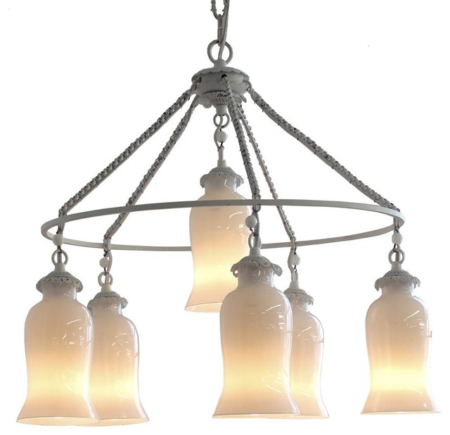 Sara Milk Glass Chandelier, Small eclectic-chandeliers