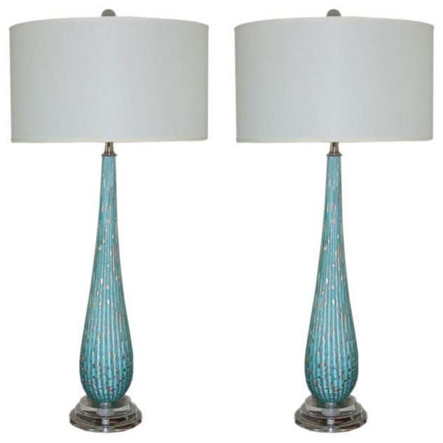 Vintage Murano Table Lamps in Turquoise with Copper Inclusions modern table lamps