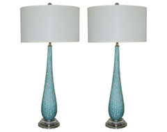 Vintage Murano Table Lamps in Turquoise with Copper Inclusions modern-table-lamps