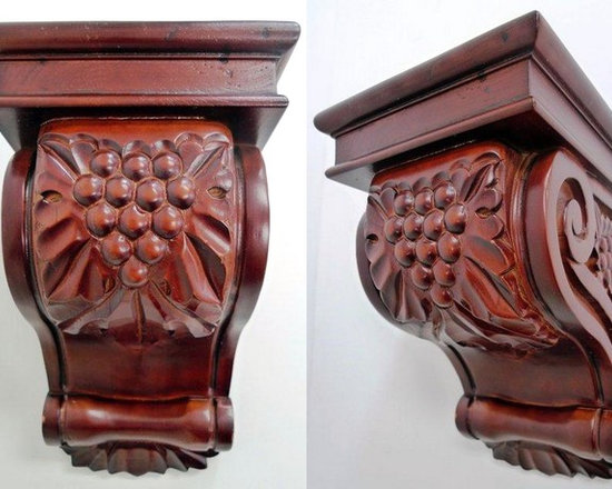 "O'Neil Cherry Decorative Corbel with Grape Deisgn - O'NEIL CHERRY CORBEL WITH GRAPE LEAF DESIGN, 5 1/2""W X 9""H."