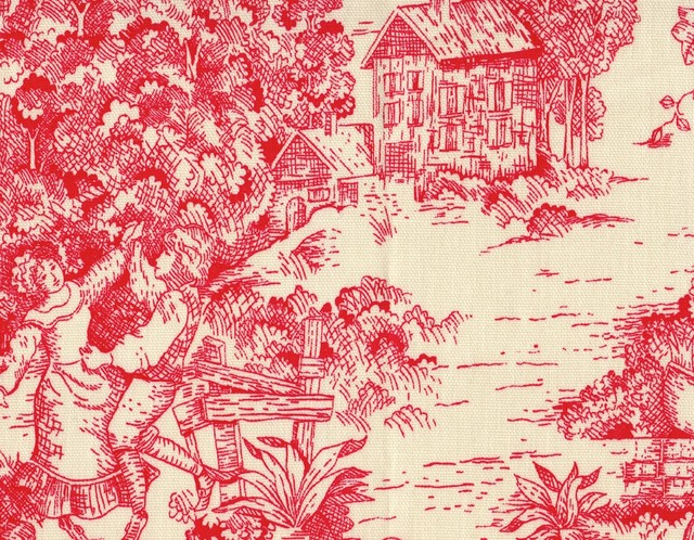 "72"" Tablecloth Round Toile Cherry Red traditional-tablecloths"