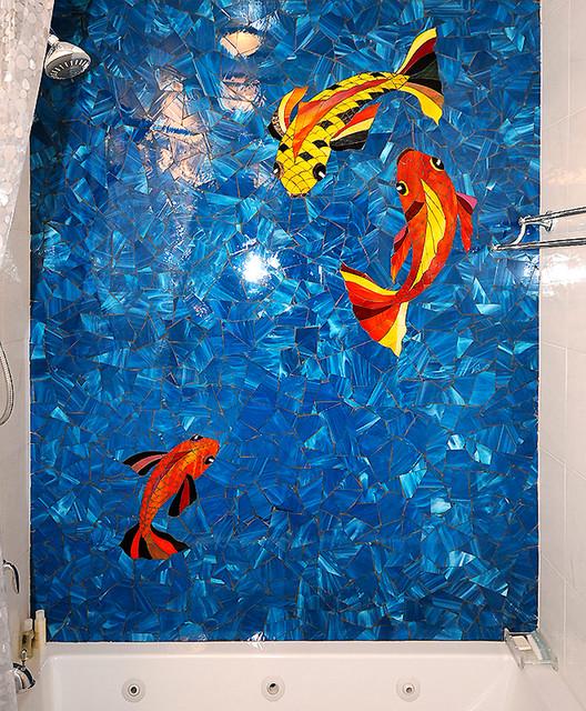 Koi Fish Shower - Contemporary - Bathroom - new york - by Allison Eden Mosaic Studios