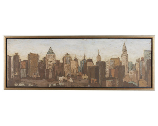 Ethan Allen - City Scape - A panorama of Manhattan's skyline at dusk, this gicl?e on canvas by New York City-based artist Megan Meagher is rendered in rich earth tones and is an Ethan Allen exclusive. Its silver-tone, box-style frame echoes the image's steel-built skyscrapers.