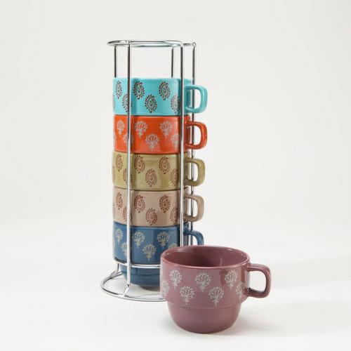Block Print Stacking Mugs Contemporary Mugs By Cost