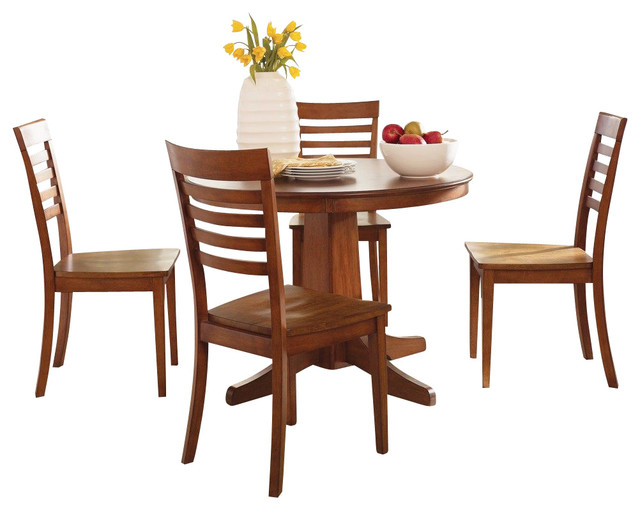 Liberty furniture cafe collections cognac 5 piece 42 inch for Dining room tables 42 round