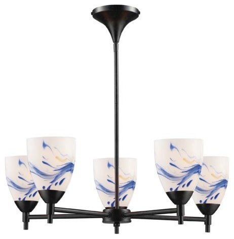 Celina Five-Light Dark Rust Chandelier with Mountain Glass contemporary-chandeliers