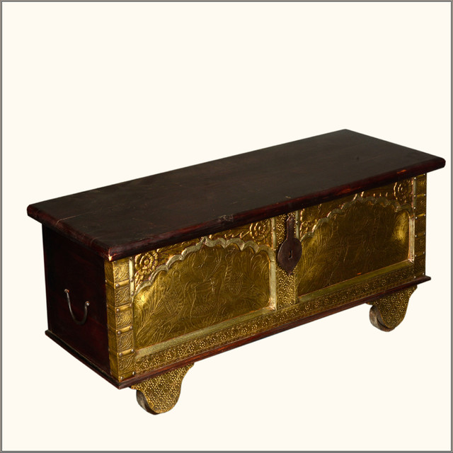 Queens Treasure Indian Rosewood Brass Rolling Coffee Table Hope Chest Traditional Storage