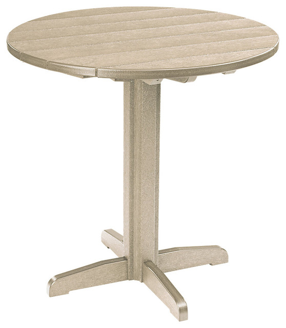 37 Round Pub Height Pedestal Table Beige Contemporary Outdoor Pub And