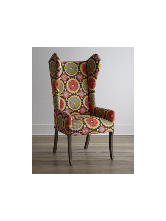 """Horchow - Spiro Swirl Wing Chair - Classic wing chair perched on slender, slightly curved legs brings fun to the table with its spiral-patterned circle motif upholstery. Peruvian oak frame. Linen upholstery. 24""""W x 22""""D x 48""""T. Imported. Boxed weight, approximately 42 lbs. Please...."""