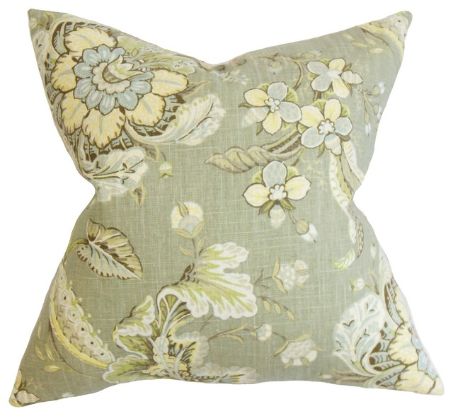 Traditional Decor Pillows : Eluned Floral Pillow, Green - Traditional - Decorative Pillows - by The Pillow Collection Inc.