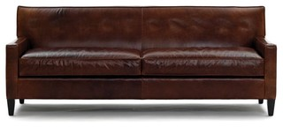 Dexter Leather Collection Sofa No Buttons Traditional