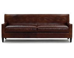Dexter Leather Collection Sofa, No Buttons traditional-sofas