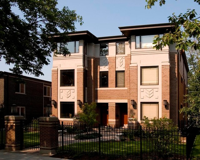 X elmhurst townhouse contemporary exterior chicago for Modern townhouse exterior