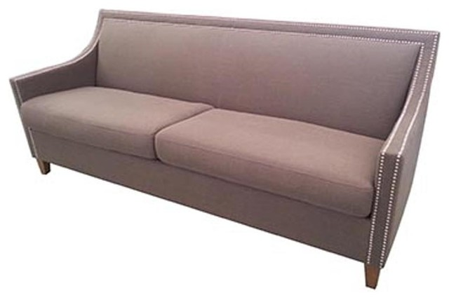 Classic home furniture collina sofa in warm grey for Grey traditional sofa