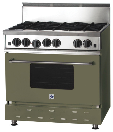 "36"" BlueStar Range in Reed Green (RAL 6013) modern-gas-ranges-and-electric-ranges"