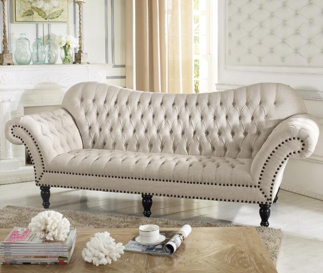 Baxton Studio Bostwick Beige Linen Classic Victorian Sofa