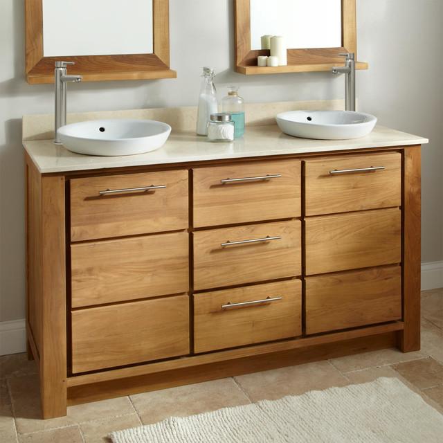 "60"" Venica Teak Double Vanity for Semi-Recessed Sinks contemporary-bathroom-vanities-and-sink-consoles"
