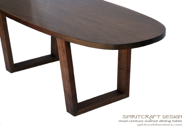Mod Century Oval Dining Table In Walnut Contemporary Dining Tables