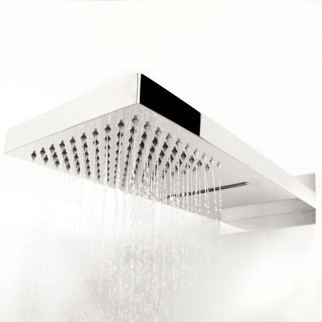 Rectangular Shower Head with Waterfall Option modern-showerheads-and-body-sprays