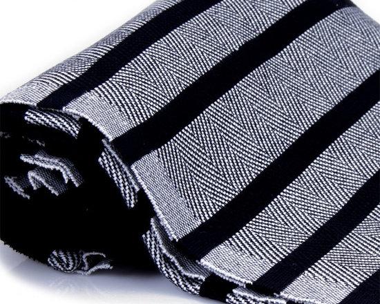 Herringbone Cotton Towel Pestemal with White Stripes on Black -