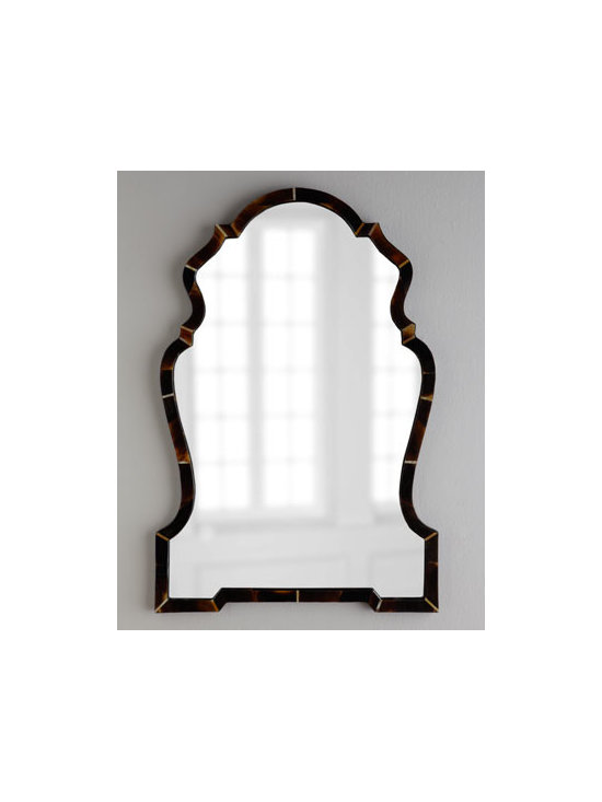 """Horchow - Horn """"Chippendale"""" Mirror - A finely formed faux-horn frame envelops this exquisite mirror. Sure to add an elegant focal point to your decor. Handcrafted of resin, wood, and mirrored glass. Horn finish. D-ring hanger, hardware included. 29""""W x 1""""D x 43""""T. Imported. Boxed we..."""