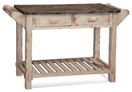 Flora's Table, Rusticated White rustic-kitchen-islands-and-kitchen-carts