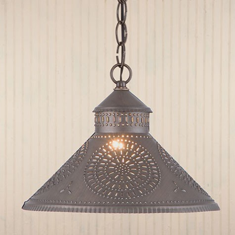 punched tin shade light in black