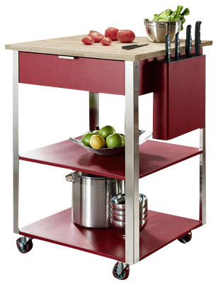 Prep kitchen cart in red traditional kitchen islands and kitchen carts
