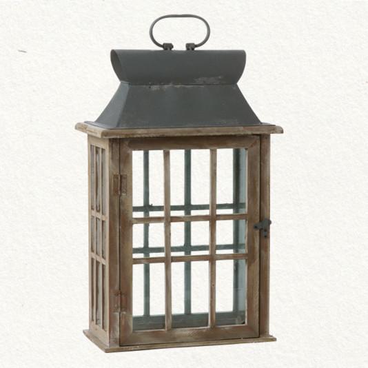 Wood & Glass Lantern traditional-candleholders