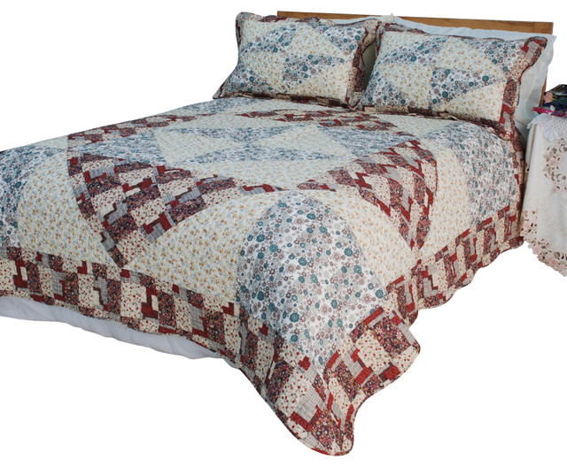 Floral Journey Cotton 2PC Vermicelli-Quilted Patchwork Quilt Set  Twin Size rustic-quilts-and-quilt-sets