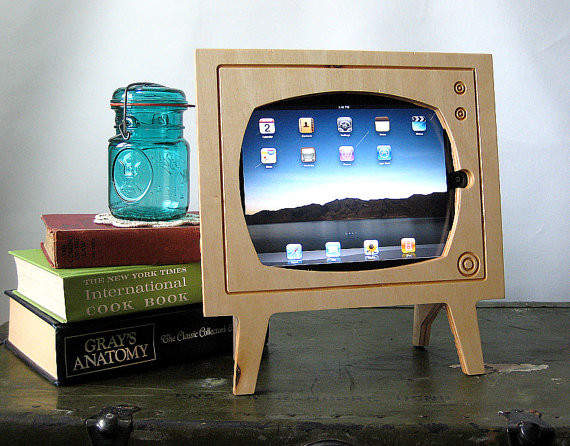 Handmade Natural Wood Retro TV Ipad Dock  home electronics
