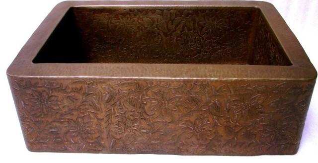 "33"" Engraved Copper Sink farmhouse-kitchen-sinks"