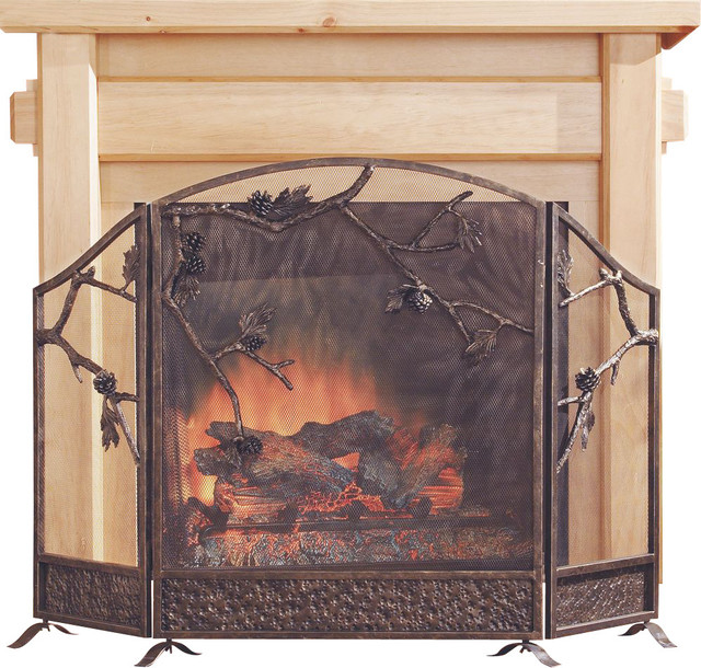 pinecone fireplace screen contemporary fireplace