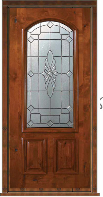 Prehung single door 80 wood alder versailles 2 panel arch for Single front doors with glass