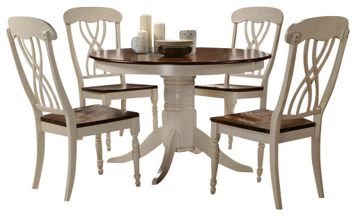 And oak finish wood round dining table set transitional dining sets