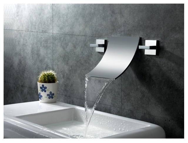 Sumerain S1248CW Waterfall Wall Mount Bathroom Sink Faucet
