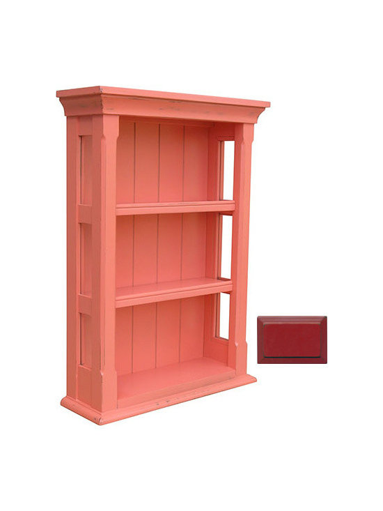 Tradewinds - Vintage Wall Cabinet, Red - The Cottage Open Wall Cabinet will look great against any wall inside a traditionally decorated interior. Featuring a classic design, characterized by large monolithic pillar-like logs on the front, and thick shelves, it will add glamour to the decor. It is made of durable solid wood and is available in stained and river wash white finishes. The cabinets with stained, painted surface require a minimal maintenance and can be wipe-cleaned simply with a dampened lint-free cloth. As painted surfaces wither over time due to the use of furniture polishes, waxes, or other chemicals and due to the exposure to direct sunlight, it is not recommended to use any of them on the cabinet.