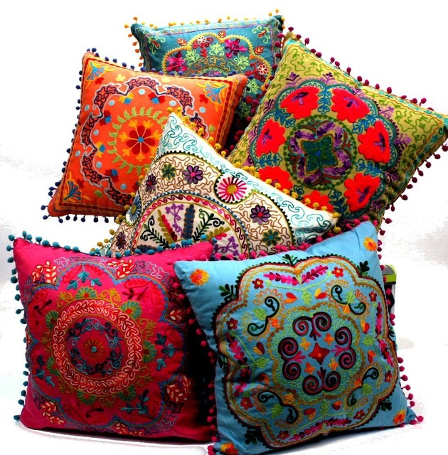 Embroidered Botanical Square Pillow eclectic-pillows