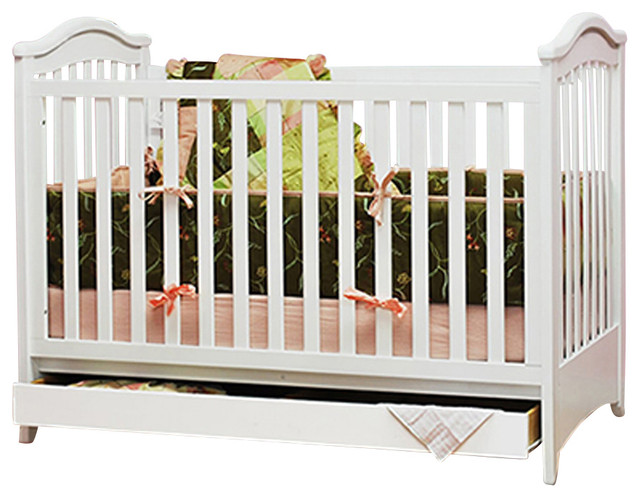 AFG Baby Jeanie Convertible Crib with Drawer in White traditional-cribs