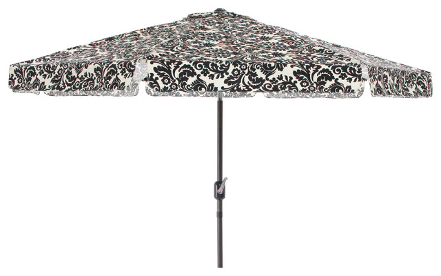 pillow perfect black white damask 9 foot patio umbrella