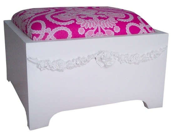 Charn&Co. - Bella Swag Cushion Stepstool - Vintage style decor for the bathroom or bedroom. The Bella Swag padded step stool for kids features a soft cushion top with adorable berry bouquet print.