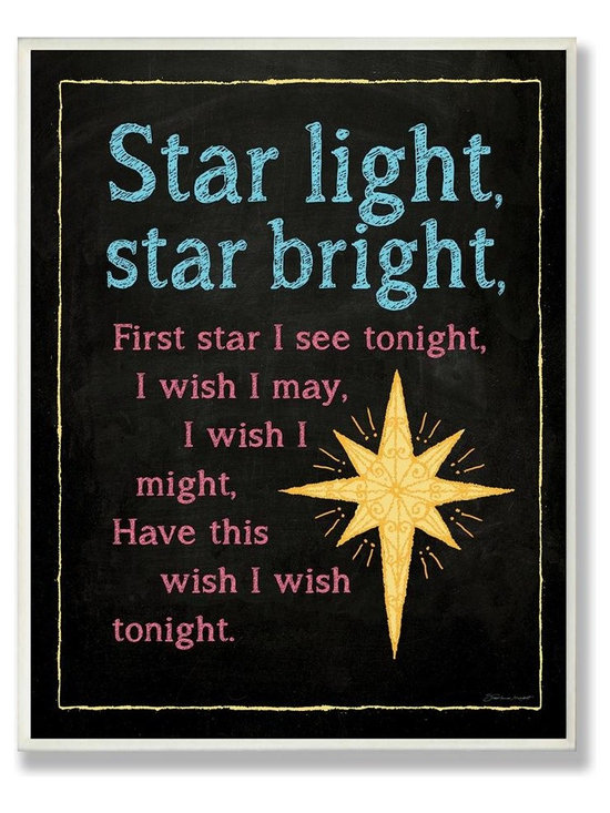 Stupell Industries - 'Star Light Star Bright' Chalk-Look Artwork - Made in USA. Ready for Hanging. Hand Finished and Original Artwork. No Assembly Required. 15 in L x 0.5 in W x 10 in H (3 lbs.)The Kid's Room by Stupell is offering great new wall plaques for the lil' one's.  All plaques are mounted on half inch thick MDF wood and are made in USA!  Featuring original artwork, each plaque comes hand finished with hand painted edges and a sawtooth hanger on the back for instant use.