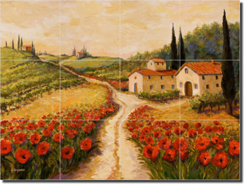 ceramic tile mural backsplash morris tuscan landscape art