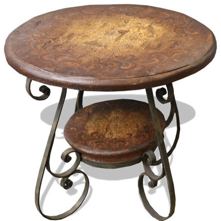 Tuscany wrought iron scroll table rustic brown with for Wrought iron side table