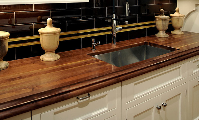 Walnut Wood Kitchen Countertop With Sink By Grothouse Traditional Kitchen Worktops New