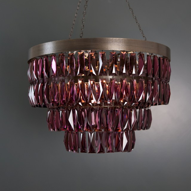 Amethyst Crystal Shallow Chandelier contemporary-chandeliers